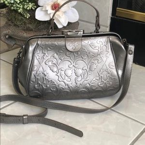 Patricia Nash Gracchi Floral Tooled Satchel EUC